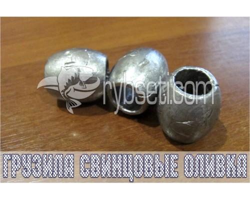 """Грузила свинцовые """"Оливка"""" 100гр ø15мм (упак. 50 шт)"""